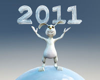 Rabbit present 2011 new year. Happy rabbit present 2011 new year Royalty Free Stock Photo