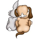 Rabbit and puppy dog Stock Photos
