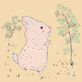 Rabbit and raspberries. Cute hand drawn illustration of baby card. suitable for printing on a t-shirt or sweatshirt, shirt design, print rabbit, sketch Royalty Free Stock Photography