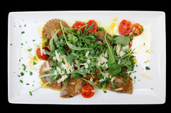 Free Rabbit Ravioli With Rocket Salad Isolated On Black Royalty Free Stock Photography - 34546707