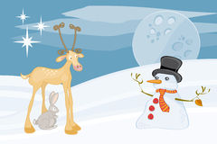 Rabbit reindeer and snowman. Winter landscape with wild animals Royalty Free Stock Photo