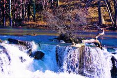 Scenes from the Hamilton Dam on the Rabbit River, Hamilton MI Royalty Free Stock Photography