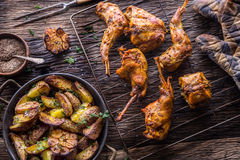 Rabbit. Roasted rabbit slices with american potatoes garlic spices salt,pepper cumin and draft beer. Hunting cuisine.  Royalty Free Stock Photo
