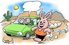 The rabbit runs much stronger than the electric car Royalty Free Stock Image