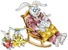 Rabbit`s family: grandpa and grandchildren. Cartoon illustration of a cute rabbit family: grandpa and little grandchildren Royalty Free Stock Photography