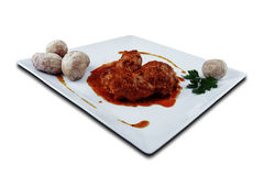 Rabbit in salmorejo sauce. Canaria recipes Stock Images