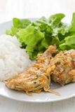 Rabbit with sauce,  boiled rice and lettuce Royalty Free Stock Photography