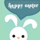 Rabbit say happy easter. White rabbit say  happy easter on polka dot background Royalty Free Stock Photos