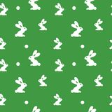 Rabbit seamless green pattern for packing, wrapping, textyle. Easter background. Holiday bright texture. With funny rabbit figure and circles for kids Stock Photography