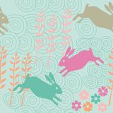 Rabbit seamless texture, endless vector illustration Royalty Free Stock Images