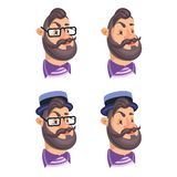 Set of vector bearded men faces hipsters stock illustration