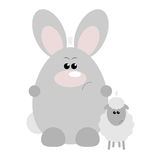 Rabbit and Sheep Angry. Funny cartoon angry rabbit and his sheep friend Royalty Free Stock Photos