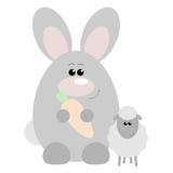 Rabbit and Sheep Happy. Funny cartoon happy rabbit and his sheep friend Royalty Free Stock Image
