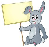 Rabbit with sign theme image 1 Stock Photos