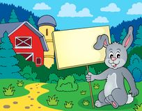 Rabbit with sign theme image 2 Stock Image