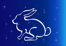Rabbit silhouette on starry sky. Stock Images