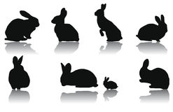 Rabbit Silhouettes Royalty Free Stock Photos