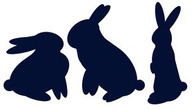 Rabbit Silhouette Vector Designs. Royalty Free Stock Photo