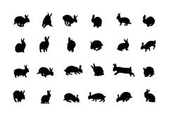 Rabbit silhouettes collection Stock Photography