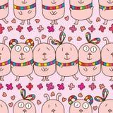Rabbit silly horizontal seamless pattern Royalty Free Stock Photo