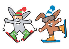 Rabbit_skier Royalty Free Stock Photos