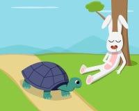 Rabbit sleep under tree while tortoise run on road Stock Photo
