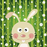 Rabbit and snow on bamboo background Royalty Free Stock Image