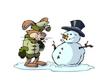 Rabbit and snowman Stock Photos