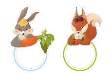 Rabbit and squirrel Stock Images