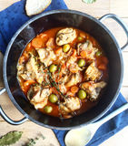 Rabbit Stew with carrots and green olives. Stock Image