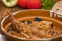 Rabbit stew. Setup on a wooden table, served in romanian traditional earthenware Royalty Free Stock Photos