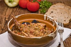 Rabbit stew. Setup on a wooden table, served in romanian traditional earthenware Royalty Free Stock Image