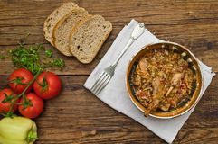 Rabbit stew. Setup on a wooden table, served in romanian traditional earthenware Stock Photography