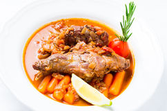 Rabbit stew with vegetables and herbs Stock Image