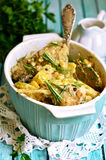 Rabbit stewed with potato in a cream sauce. Stock Photo