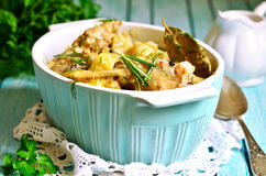 Rabbit stewed with potato in a cream sauce. Stock Images