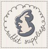 Rabbit supplies label. Rabbit supplies calligraphic handwritten label Royalty Free Stock Photo