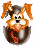 Rabbit Surprise. Color illustration of a cute rabbit she jumps out of a chocolate egg Royalty Free Stock Photography