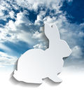 Rabbit symbol above sky and clouds Stock Photography