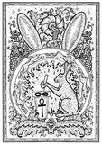 Rabbit symbol in frame. Hair with mortar and pestle, baroque and floral decorations in fire circle. Fantasy engraved illustration for t-shirt, print, card Royalty Free Stock Images