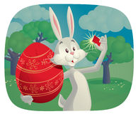 Rabbit Takes Selfie with Easter Egg Vector Cartoon. Vector cartoon of funny rabbit holding Easter egg and taking a picture Royalty Free Stock Photo