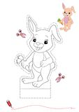 Rabbit to be color and to cut out royalty free stock photos