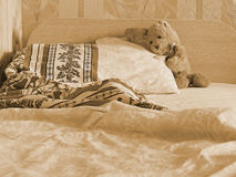 Rabbit toy on the bed Royalty Free Stock Image