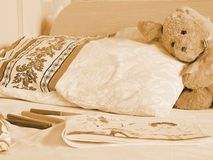 Rabbit toy on the bed Royalty Free Stock Images