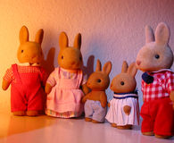 Rabbit toy family. Rabbit vintage toy family Stock Photography