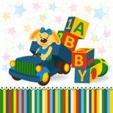 Rabbit on truck unload baby blocks. Vector illustration Stock Photography