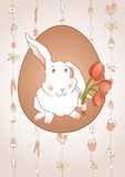 Rabbit with Tulips Royalty Free Stock Photo