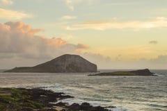 Rabbit and Turtle Island at sunrise stock photo