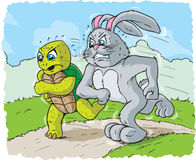 Rabbit and turtle racing royalty free illustration