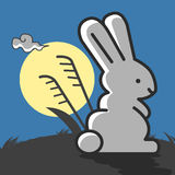 Rabbit under the moonlight. Viewing the moon Illustration. Cute rabbits under the moonlight, cartoon concept. Rabbit watching the moonlight. Rabbits alone royalty free illustration